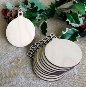 Decorations Wooden ROUND CHRISTMAS BAUBLE